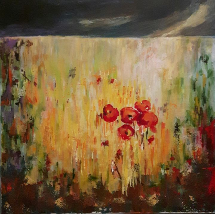 6-paysage-juin.jpg - Painting,  50x50 cm ©2017 by Penny GP -                                                            Abstract Art, Canvas, Abstract Art, champ, juin, blé, coquelicot