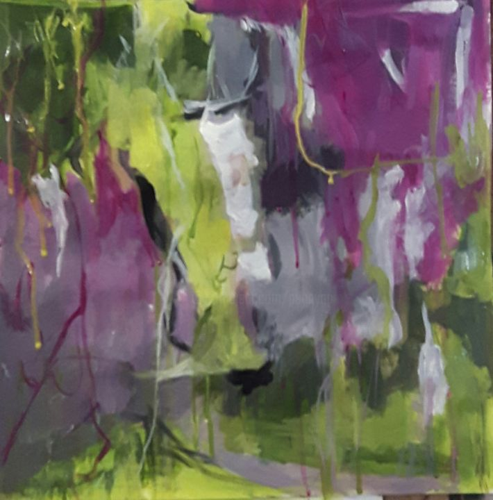 mon jardin aux lilas - Painting,  30x30 cm ©2017 by pennygp -                                            Abstract Art, Abstract Art, jardin, printemps, lilas, joie