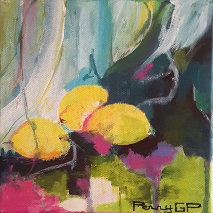 2les-citrons.jpg - Painting,  20x20 cm ©2017 by pennygp -                            Abstract Art, citrons, couleurs, rideau, nature morte