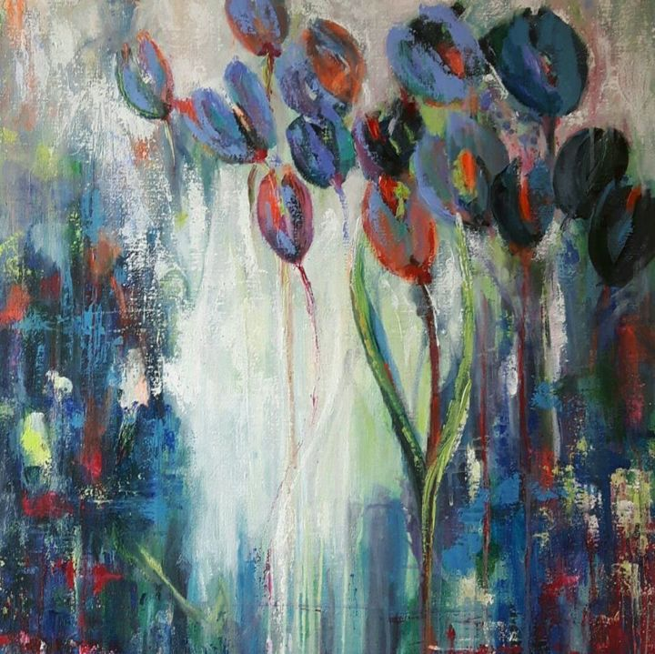 viens-y-a-le-printemps-qui-chante.jpg - Painting,  25.6x31.5 in, ©2018 by Penny GP -                                                                                                                                                                                                                                                                                                                                                              Abstract, abstract-570, Flower, fleurs, tulipes, printemps, bleu