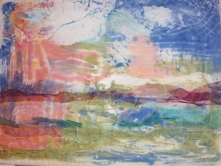 Mer que j'aime - Textile Art,  19.7x23.6x0.8 in, ©2020 by Penny Gp -                                                                                                                                                                                                                                                                                                                  Abstract, abstract-570, Seascape, mer, soleil, coucher