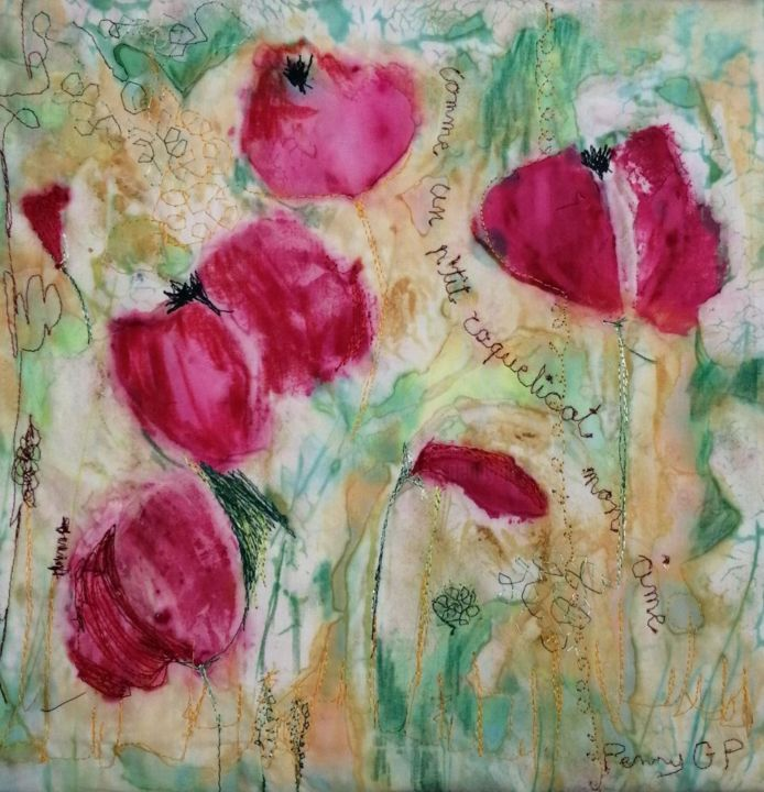 Comme un petit coquelicot mon âme - Textile Art,  11.8x11.8x0.8 in, ©2020 by Penny Gp -                                                                                                                                                                                                                          Abstract, abstract-570, Flower, coquelicots