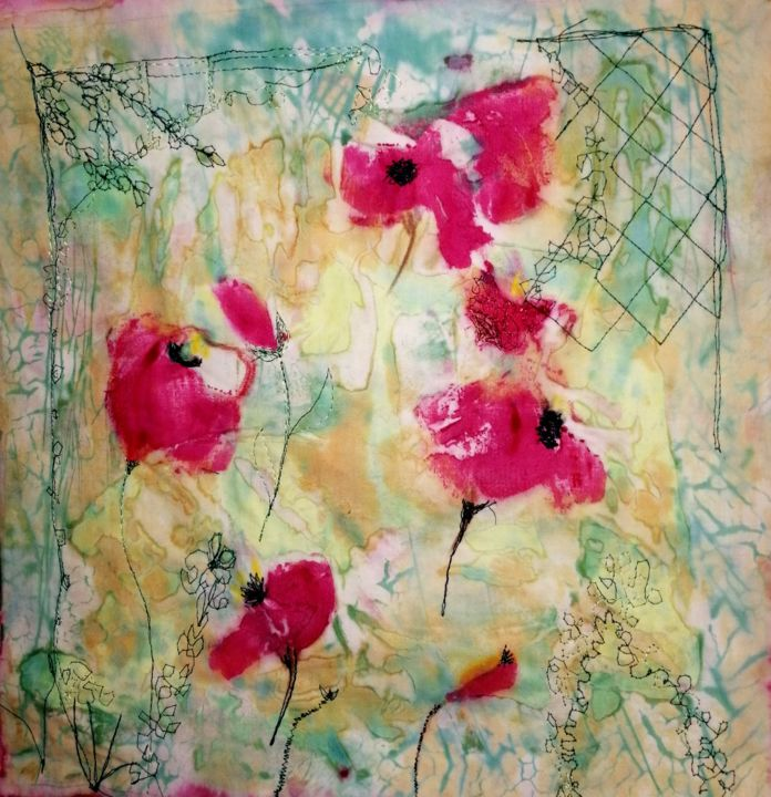 Jolis Coquelicots - Textile Art,  11.8x11.8x0.8 in, ©2020 by Penny Gp -