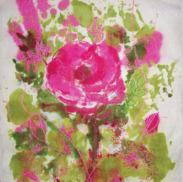 Rose, rose - Textile Art,  7.9x7.9 in, ©2020 by Penny Gp -                                                                                                                                                                                                                                                                      Abstract, abstract-570, Flower, fleur, rose
