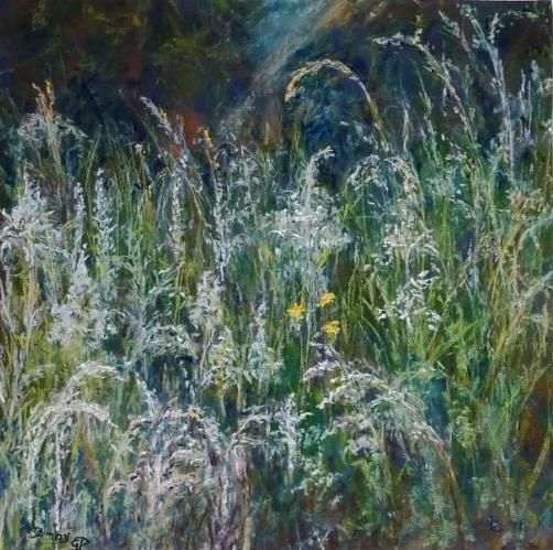 Les herbes folles - Painting,  15.8x15.8 in, ©2012 by Penny Gp -                                                                                                                                                          Nature, pastel, herbes nature