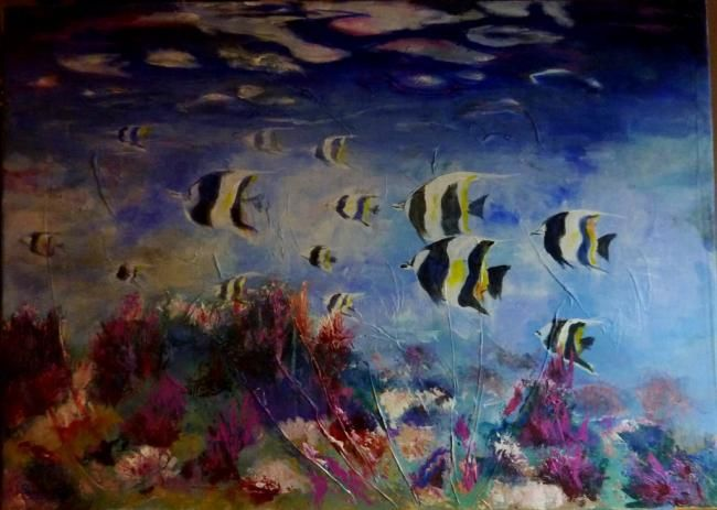 Souvenir des Maldives 2 - Painting,  19.7x31.5 in, ©2013 by Penny Gp -                                                                                                                                                          Fish, Acrylique, poisson tropical