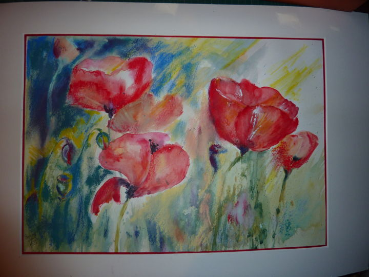 joie-champetre.jpg - Painting,  12.2x19.7 in, ©2013 by Penny GP -                                                              Coquelicots aquarelle