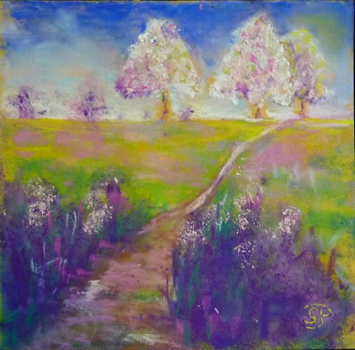 Chemin P3.jpg - Painting,  7.9x7.9 in, ©2013 by Penny Gp -                                                              pastel chemin paysage
