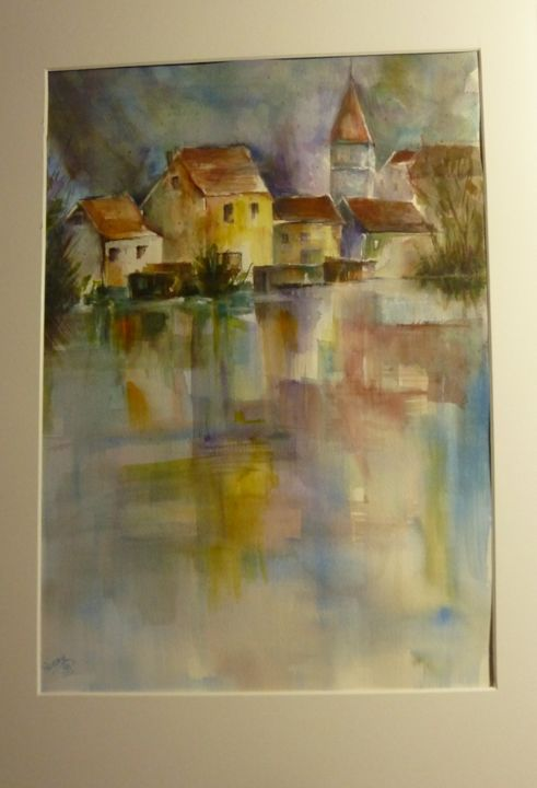 Village d'après Cao Bei-An - Painting, ©2013 by Penny GP -                                                              aquarelle village reflets lac