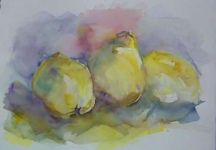 Poires - Painting,  15.8x19.7 in, ©2013 by Penny GP -                                                              Aquarelle poires nature morte fruits