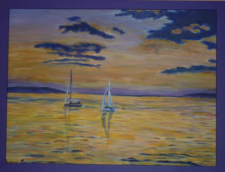 d-eau-et-d-or.jpg - Painting,  42x60 cm ©2015 by Penny GP -                                                            Contemporary painting, Canvas, Seascape, lac, mer, paysage, jaune or