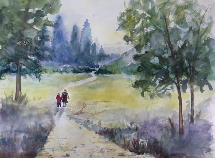 promenade-a-2.jpg - Painting,  11.8x15.8 in, ©2015 by Penny GP -                                                                                                                                                                                                                                                                                                                                          Landscape, aquarelle, paysage, foret, promenade, montagne, balade
