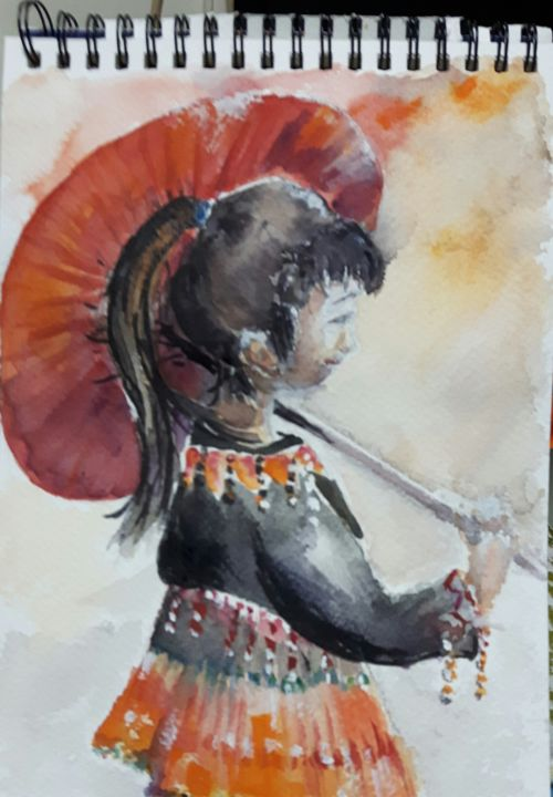 20151215-203346-1.jpg - Painting,  11.8x7.9 in, ©2015 by Penny GP -                                                                                                                                                                                                                                                                                                                                                                                                          Figurative, figurative-594, People, Laos, hmong, fête, enfant, fille