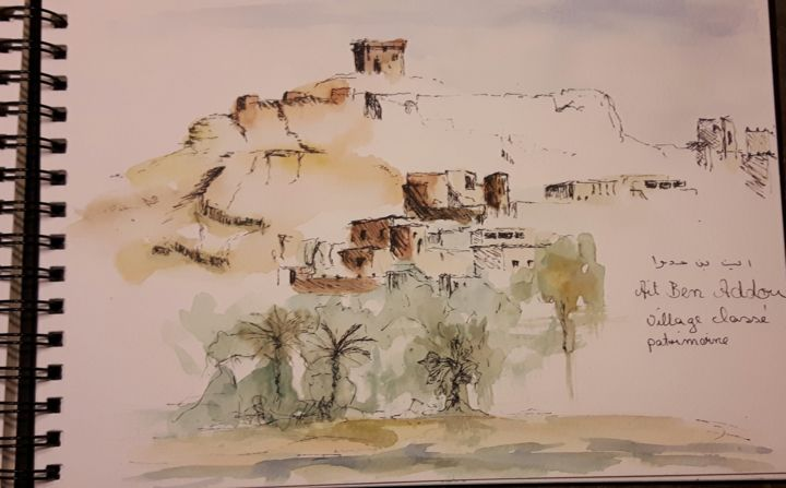 Ait Ben Haddou - Drawing ©2016 by Penny GP -                        Travel