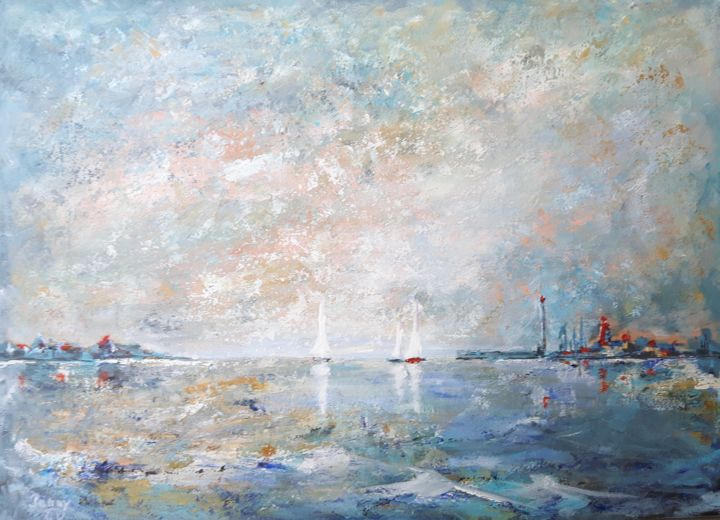 sortie-en-mer.jpg - Painting,  46x60 cm ©2016 by Penny GP -                                                            Contemporary painting, Wood, Seascape, mer, port, voiliers, voile, reflets, paysage, marine