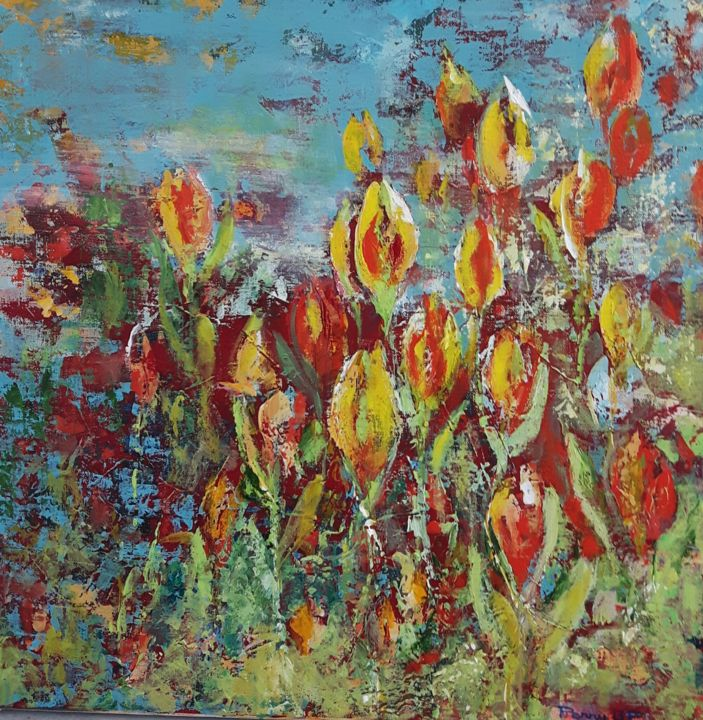paysage mars - Painting,  50x50x2 cm ©2017 by Penny GP -                                                            Abstract Art, Canvas, Landscape, paysage, tulipes, printemps