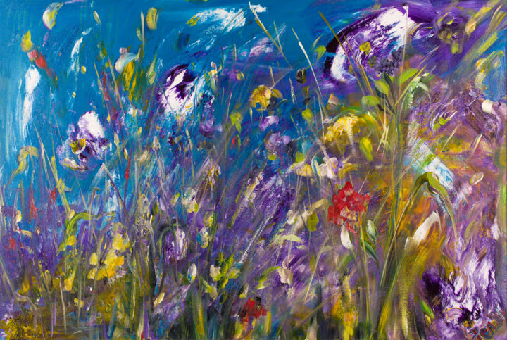 Wild Flowers - Painting,  25.6x31.5x0.8 in, ©2017 by Pen'Ny -                                                                                                                                                                                                                                                                                                                  Impressionism, impressionism-603, Flower, flower, wild, blue