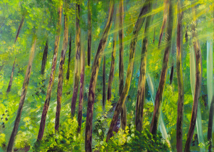 Green Forest - Painting,  19.7x29.9x0.8 in, ©2015 by Pen'Ny -                                                                                                                                                                          Impressionism, impressionism-603, Nature