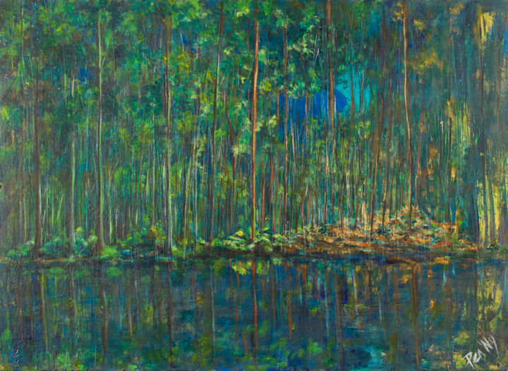 Serene - Painting,  28.7x39.4x0.8 in, ©2017 by Pen'Ny -                                                                                                                                                                                                                                                                                                                                                                                                          Impressionism, impressionism-603, Nature, green, forest, calm, relaxation, blue