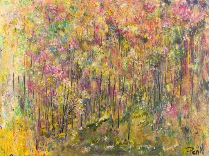 Spring - Painting,  23.6x31.5x0.8 in, ©2017 by Pen'Ny -                                                                                                                                                                                                                                                                                                                                                              Impressionism, impressionism-603, Nature, spring, nature, relaxation, art therapy
