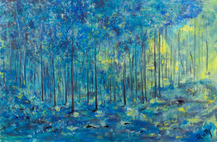 Blue - Painting,  19.7x29.9x0.8 in, ©2017 by Pen'Ny -                                                                                                                                                                                                                                                                                                                                                                                                          Impressionism, impressionism-603, Nature, relaxation, blue, calm, inspiration, tree