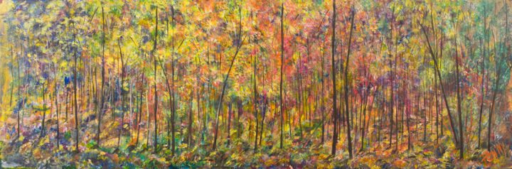 Foret Colore - Painting,  15.8x47.2x0.8 in, ©2017 by Pen'Ny -                                                                                                                                                                                                                                                                                                                                                                                                          Impressionism, impressionism-603, Nature, tree, large, panoramic, forest, full color