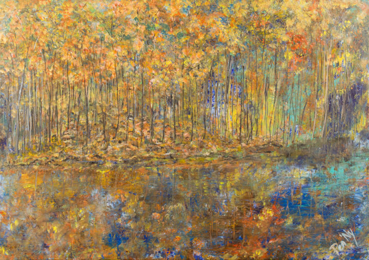 Golden Reflection - Painting,  25.6x36.2x0.8 in, ©2017 by Pen'Ny -                                                                                                                                                                                                                                                                                                                                                                                                          Impressionism, impressionism-603, Nature, abstract, gold, reflection, relaxation, twohands