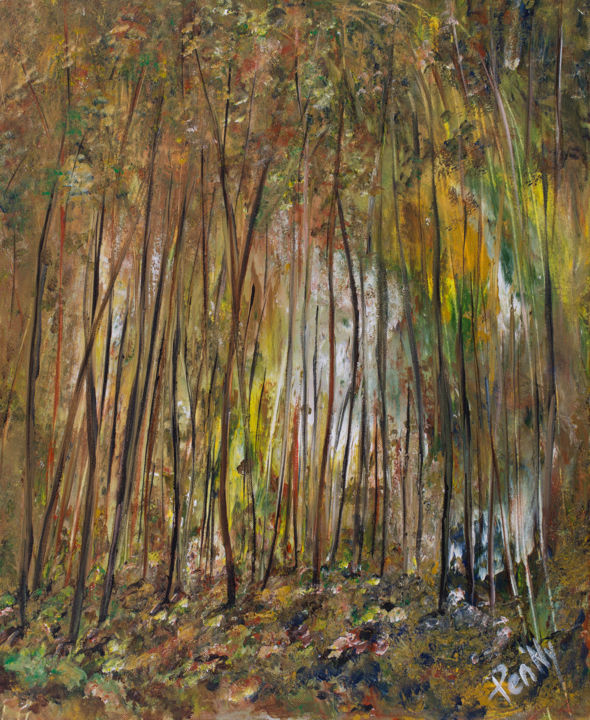 Into the Forest - Painting,  24x19.7x0.6 in, ©2017 by Pen'Ny -                                                                                                                                                                                                                                                                                                                                                                                                          Impressionism, impressionism-603, Nature, Nature, inspirations, forest, ganagobie, wood