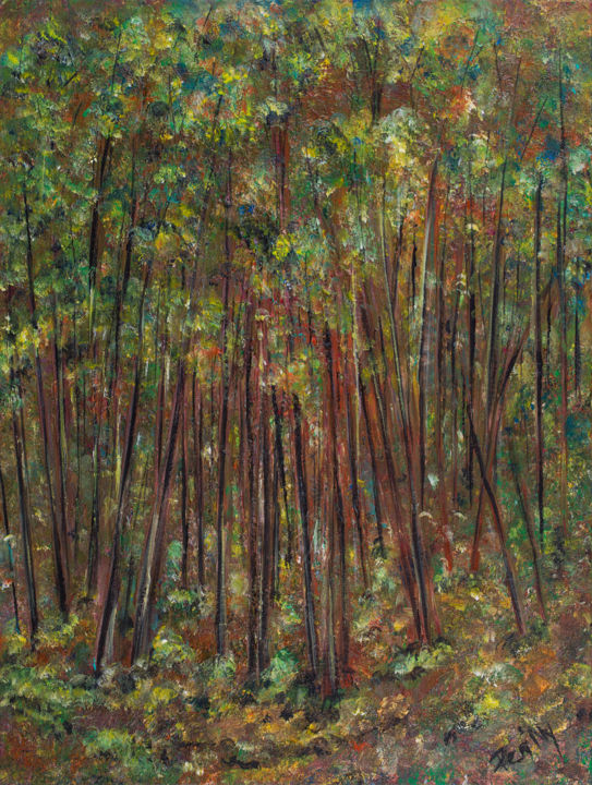 Walk in the woods - Painting,  24x18.1x0.6 in, ©2017 by Pen'Ny -                                                                                                                                                                                                                                                                                                                                                                                                                                                      Impressionism, impressionism-603, Nature, woods, bois, meditation, inspiration, walk, underthetree