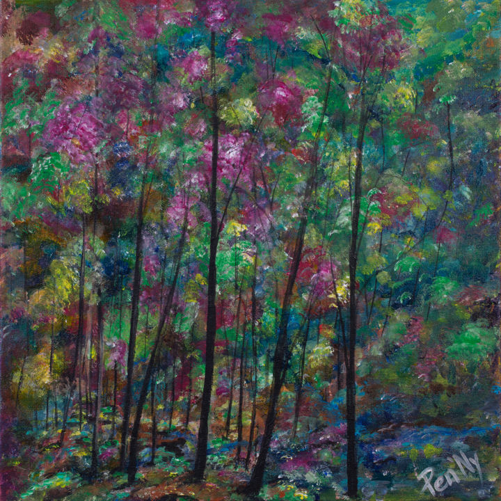 Tranquilite - Painting,  15.8x15.8x0.6 in, ©2017 by Pen'Ny -                                                                                                                                                                                                                                                                                                                                                                                                                                                                                                  Impressionism, impressionism-603, Nature, nature, flower, forest, tree, colore, inspiration, meditation
