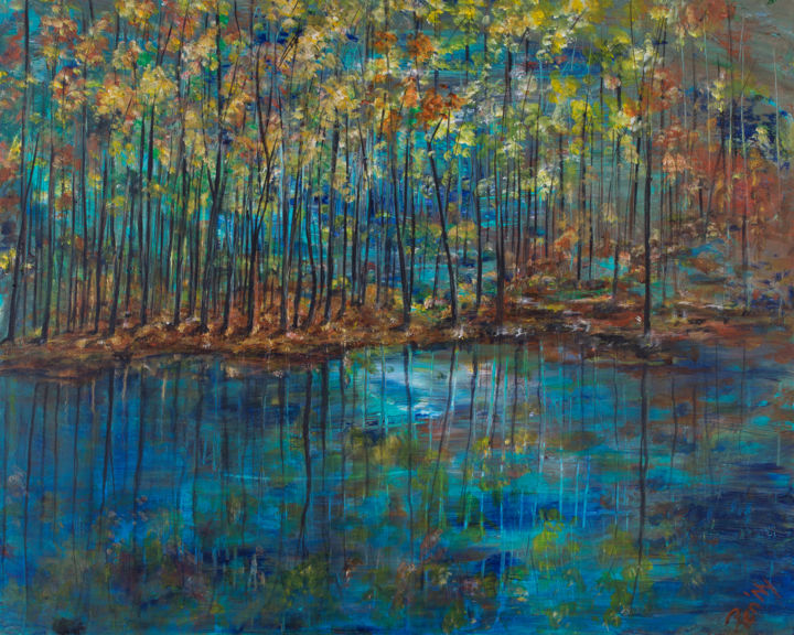Terre Bois L'Eau - Painting,  25.6x31.9x0.6 in, ©2017 by Pen'Ny -                                                                                                                                                                                                                                                                                                                                                                                                                                                      Impressionism, impressionism-603, Nature, lake, reflect, inspiration, meditation, dark, water
