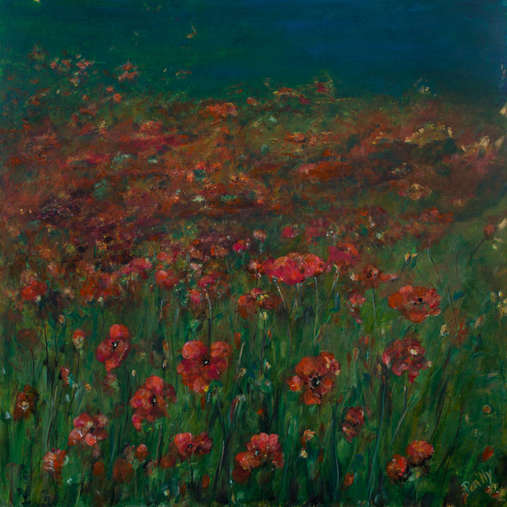 Field of red - Painting,  39.4x39.4x0.8 in, ©2017 by Pen'Ny -                                                                                                                                                                                                                                                                                                                                                                                                                                                      Impressionism, impressionism-603, Nature, coquelicot, rouge, vert, complementaire, inspirations, meditation