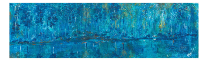 Calm Before the Storm - Painting,  11.8x35.4x0.8 in, ©2019 by Pen'Ny -                                                                                                                                                                                                                                                                                                                                                                                                                                                                                                                                                                                                                                      Abstract, abstract-570, Abstract Art, Nature, Tree, CamFest, Camberley, Pen'Ny, Penny Nanton, acrylic art, art, philip yale photography, pypimages