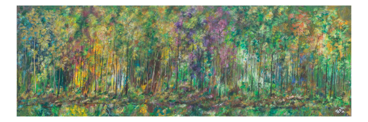 Finding the Path - Painting,  23.6x59.1x0.8 in, ©2019 by Pen'Ny -                                                                                                                                                                                                                                                                                                                                                                                                                                                                                                                                                                                                                                                                                                                              Abstract, abstract-570, Abstract Art, Nature, Tree, CamFest, Camberley, Pen'Ny, Penny Nanton, acrylic art, art, philip yale photography, pypimages, tree, nature