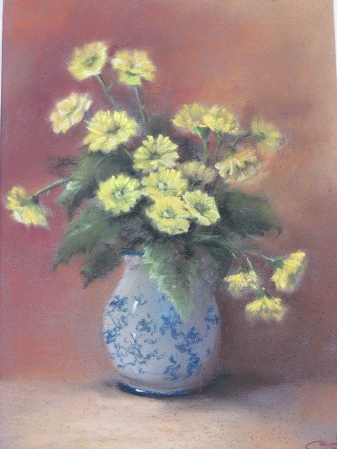 Chrysanthèmes de jardin - Painting,  40x50 cm ©2012 by cathy PERDRIAUD -