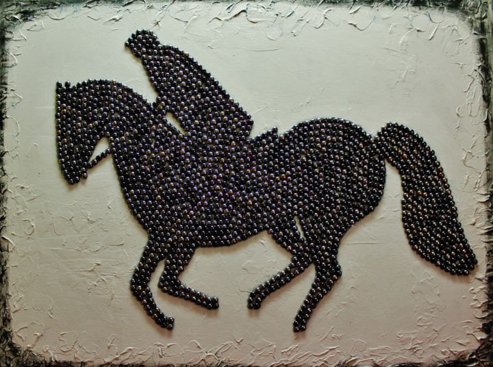 Horse Jumping Working With Small Pieces Of Marble Painting 36x48x1 M