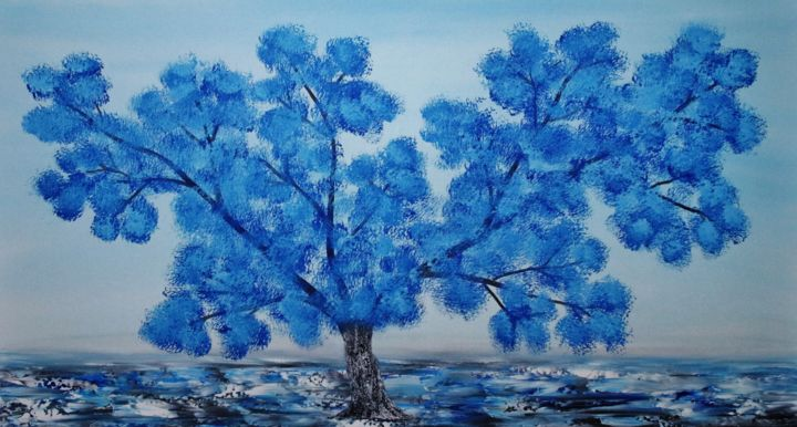 Oil painting blue tree,painting sale. - © 2019  Online Artworks