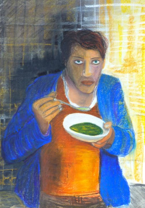 la soupe - Ζωγραφική,  29,5x21,7x0,4 in, ©2018 από Christian Battini -                                                                                                                                                                                                                                                                                                                                                                                                                                                                                                                                              Figurative, figurative-594, artwork_cat.Performing Arts, Κόμικς, Κινηματογράφος, Graffiti, Φως, homme affamé, assiette de soupe, homme debout, homme avec veste bleu