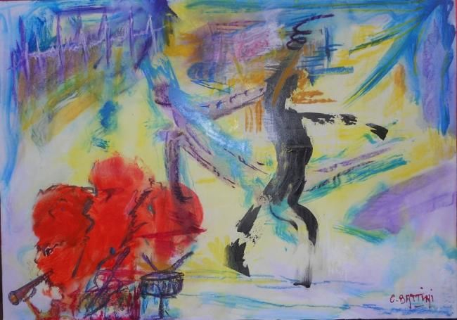 Jazz Band - Painting,  19.7x27.6 in, ©2012 by Christian BATTINI -                                                              Un orchestre de Jazz Band