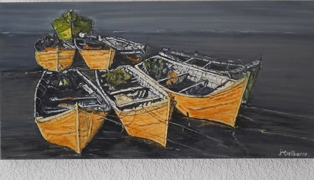 Les Barques Jaunes - Painting,  15.8x31.5x1.2 in, ©2013 by Jeanne-Marie Delbarre -                                                                                                                                                                                                                          Figurative, figurative-594, artwork_cat.Cityscape, Marines