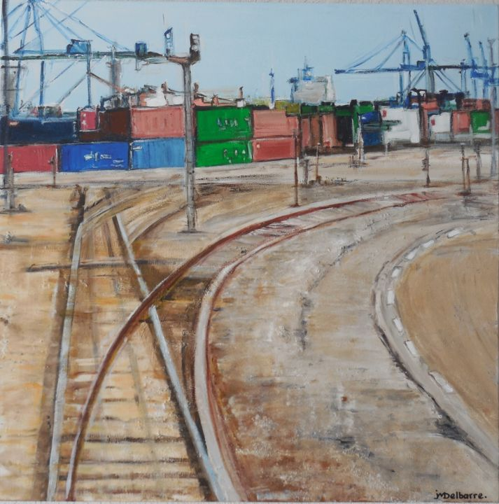 Sur les Docks - Painting,  31.5x31.5x1.2 in, ©2017 by Jeanne-Marie Delbarre -                                                                                                                                                                          Expressionism, expressionism-591, Cityscape