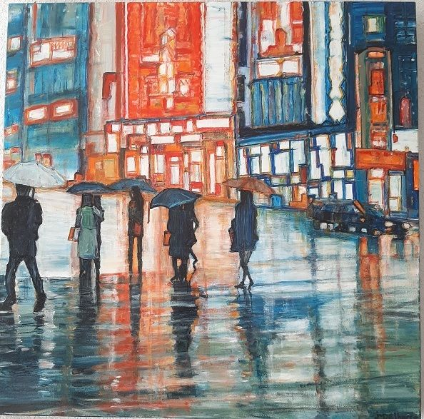 Ce Soir On Sort - Painting,  31.5x31.5x1.2 in, ©2020 by Jeanne-Marie Delbarre -                                                                                                                                                                                                                                                                      Figurative, figurative-594, Cityscape, avenue, personnages