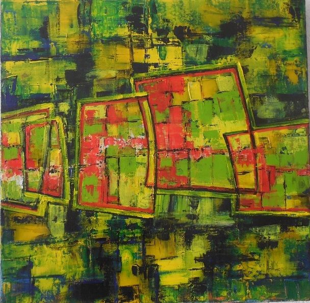 Le Voyage - Painting,  23.6x23.6x1.2 in, ©2020 by Jeanne-Marie Delbarre -                                                                                                                                                                          Abstract, abstract-570, Abstract Art