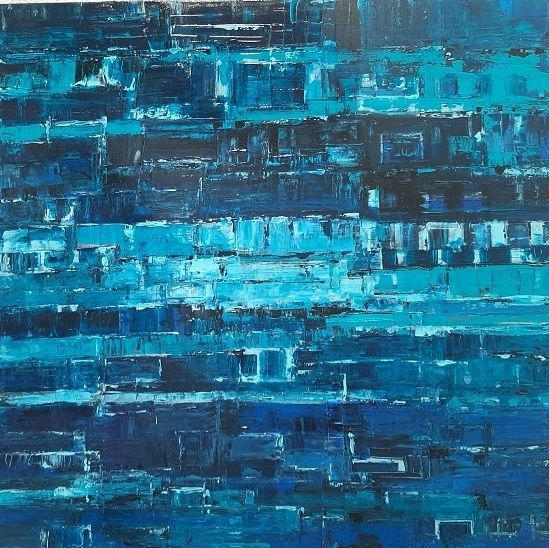 Abstrait Bleu - Painting,  31.5x31.5x1.2 in, ©2020 by Jeanne-Marie Delbarre -                                                                                                                                                                                                                                                                                                                  Abstract, abstract-570, Abstract Art, Abstrait, ,  bleu