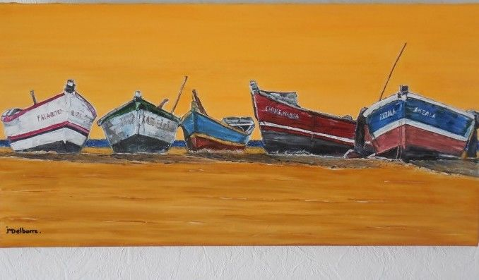 Sur le sable - Painting,  15.8x31.5 in, ©2013 by Jeanne-Marie Delbarre -                                                                                                                                                                          Figurative, figurative-594, barques sur le sable