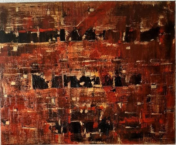 Feu - Painting,  25.6x31.9x0.8 in, ©2020 by Jeanne-Marie Delbarre -                                                                                                                                                                          Abstract, abstract-570, Abstrait rouge noir