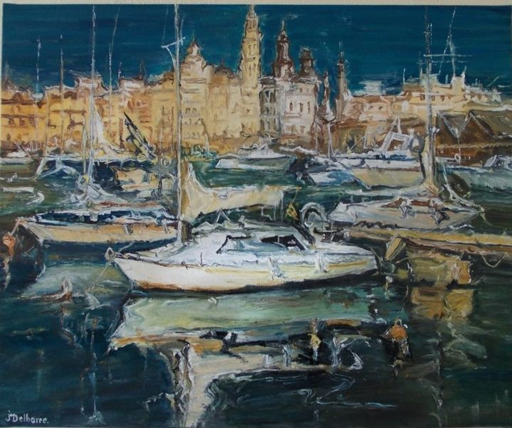 Marina. - Painting,  23.6x28.7x0.8 in, ©2013 by Jeanne-Marie Delbarre -                                                                                                                                                                          Impressionism, impressionism-603, Seascape
