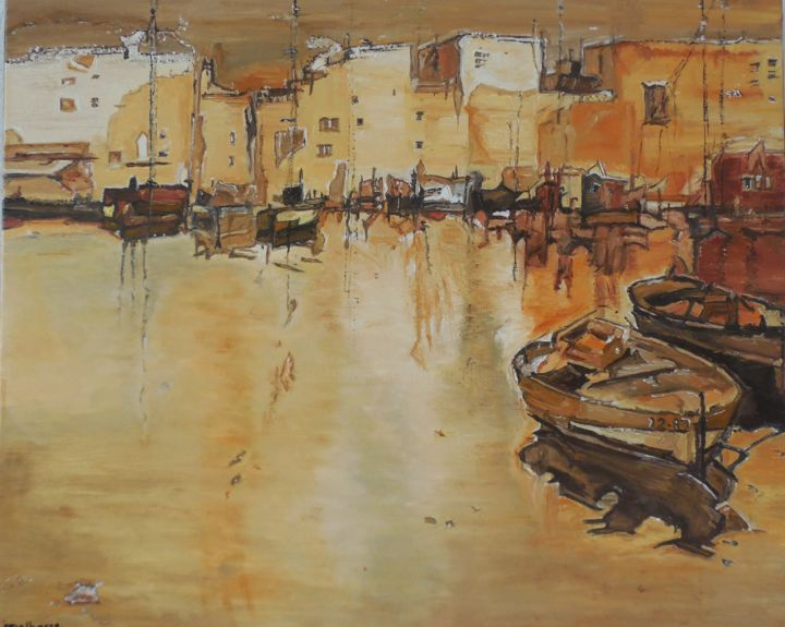Port Jaune - Painting,  28.7x36.2x0.8 in, ©2013 by Jeanne-Marie Delbarre -                                                                                                                                                                                                                          Impressionism, impressionism-603, Seascape, Bateaux