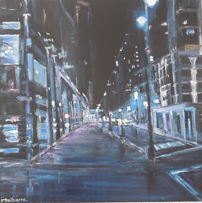 Nuit Bleue - Painting,  23.6x23.6x1.6 in, ©2016 by Jeanne-Marie Delbarre -                                                                                                                                                                                                                          Expressionism, expressionism-591, artwork_cat.Cityscape, rue