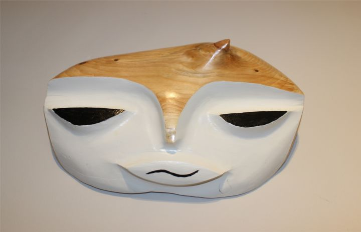 """Sculpture titled """"White Query Face"""" by Peter Lattey, Original Art, Wood"""